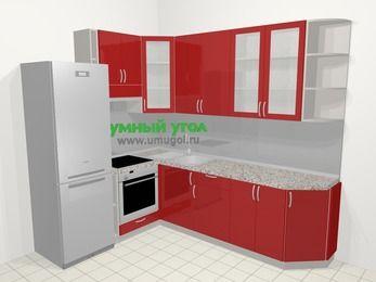 Угловая кухня МДФ глянец в современном стиле 6,8 м², 190 на 250 см, Красный, верхние модули 92 см, встроенный духовой шкаф, холодильник