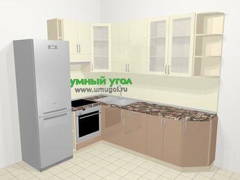 Угловая кухня МДФ глянец в современном стиле 6,8 м², 190 на 250 см, Жасмин / Капучино, верхние модули 92 см, встроенный духовой шкаф, холодильник