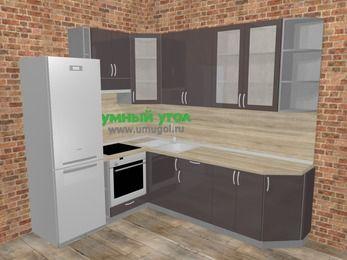 Угловая кухня МДФ глянец в стиле лофт 6,8 м², 190 на 250 см, Шоколад, верхние модули 92 см, встроенный духовой шкаф, холодильник