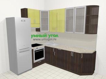 Кухни пластиковые угловые в современном стиле 6,8 м², 190 на 250 см, Желтый Галлион глянец / Дерево Мокка, верхние модули 92 см, встроенный духовой шкаф, холодильник