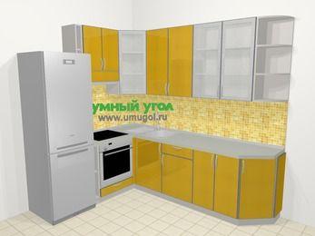 Кухни пластиковые угловые в современном стиле 6,8 м², 190 на 250 см, Желтый глянец, верхние модули 92 см, встроенный духовой шкаф, холодильник