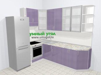 Кухни пластиковые угловые в современном стиле 6,8 м², 190 на 250 см, Сиреневый глянец, верхние модули 92 см, встроенный духовой шкаф, холодильник