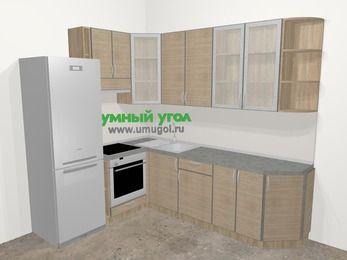 Кухни пластиковые угловые в стиле лофт 6,8 м², 190 на 250 см, Чибли бежевый, верхние модули 92 см, встроенный духовой шкаф, холодильник