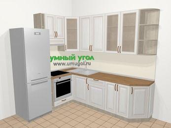 Угловая кухня МДФ патина в классическом стиле 6,8 м², 190 на 250 см, Лиственница белая, верхние модули 92 см, встроенный духовой шкаф, холодильник