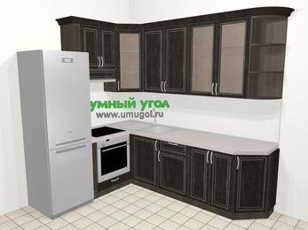 Угловая кухня МДФ патина в классическом стиле 6,8 м², 190 на 250 см, Венге, верхние модули 92 см, встроенный духовой шкаф, холодильник