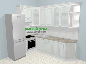 Угловая кухня МДФ патина в стиле прованс 6,8 м², 190 на 250 см, Лиственница белая, верхние модули 92 см, встроенный духовой шкаф, холодильник