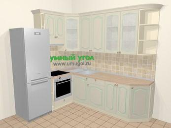 Угловая кухня МДФ патина в стиле прованс 6,8 м², 190 на 250 см, Керамик, верхние модули 92 см, встроенный духовой шкаф, холодильник