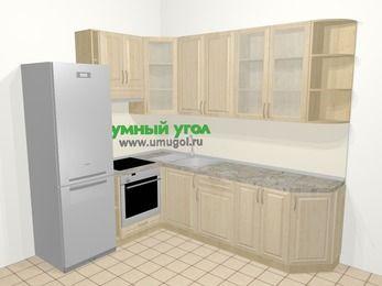 Угловая кухня из массива дерева в классическом стиле 6,8 м², 190 на 250 см, Светло-коричневые оттенки, верхние модули 92 см, встроенный духовой шкаф, холодильник