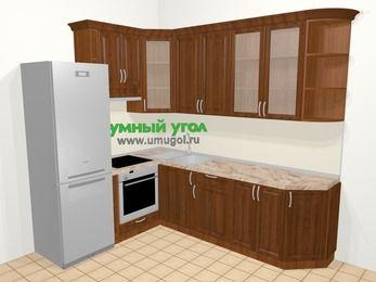 Угловая кухня из массива дерева в классическом стиле 6,8 м², 190 на 250 см, Темно-коричневые оттенки, верхние модули 92 см, встроенный духовой шкаф, холодильник