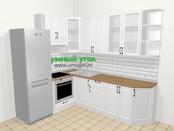 Угловая кухня из массива дерева в скандинавском стиле 6,8 м², 190 на 250 см, Белые оттенки, верхние модули 92 см, встроенный духовой шкаф, холодильник