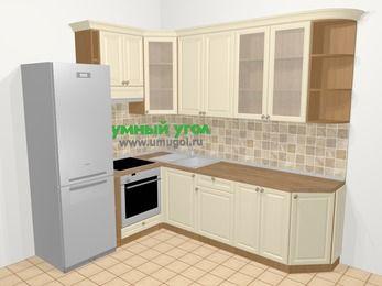 Угловая кухня из массива дерева в стиле кантри 6,8 м², 190 на 250 см, Бежевые оттенки, верхние модули 92 см, встроенный духовой шкаф, холодильник