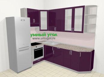 Угловая кухня МДФ глянец в современном стиле 6,8 м², 190 на 250 см, Баклажан, верхние модули 92 см, встроенный духовой шкаф, холодильник