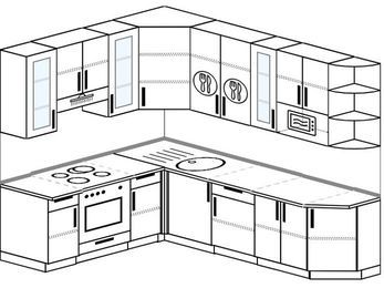 Угловая кухня 6,8 м² (1,9✕2,5 м), верхние модули 92 см, модуль под свч, встроенный духовой шкаф