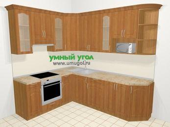 Угловая кухня МДФ матовый в классическом стиле 6,8 м², 190 на 250 см, Вишня, верхние модули 92 см, модуль под свч, встроенный духовой шкаф
