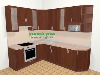 Угловая кухня МДФ матовый в классическом стиле 6,8 м², 190 на 250 см, Вишня темная, верхние модули 92 см, модуль под свч, встроенный духовой шкаф