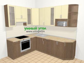 Угловая кухня МДФ матовый в современном стиле 6,8 м², 190 на 250 см, Ваниль / Лиственница бронзовая, верхние модули 92 см, модуль под свч, встроенный духовой шкаф