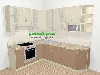 Угловая кухня МДФ матовый в современном стиле 6,8 м², 190 на 250 см, Керамик / Кофе, верхние модули 92 см, модуль под свч, встроенный духовой шкаф