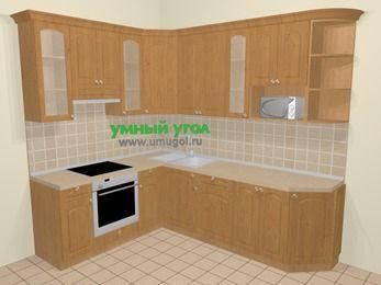 Угловая кухня МДФ матовый в стиле кантри 6,8 м², 190 на 250 см, Ольха, верхние модули 92 см, модуль под свч, встроенный духовой шкаф