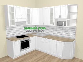 Угловая кухня МДФ матовый  в скандинавском стиле 6,8 м², 190 на 250 см, Белый, верхние модули 92 см, модуль под свч, встроенный духовой шкаф