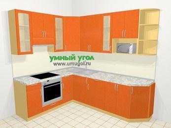 Угловая кухня МДФ металлик в современном стиле 6,8 м², 190 на 250 см, Оранжевый металлик, верхние модули 92 см, модуль под свч, встроенный духовой шкаф