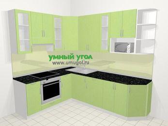 Угловая кухня МДФ металлик в современном стиле 6,8 м², 190 на 250 см, Салатовый металлик, верхние модули 92 см, модуль под свч, встроенный духовой шкаф