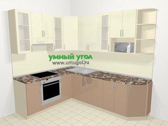 Угловая кухня МДФ глянец в современном стиле 6,8 м², 190 на 250 см, Жасмин / Капучино, верхние модули 92 см, модуль под свч, встроенный духовой шкаф