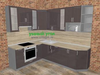 Угловая кухня МДФ глянец в стиле лофт 6,8 м², 190 на 250 см, Шоколад, верхние модули 92 см, модуль под свч, встроенный духовой шкаф