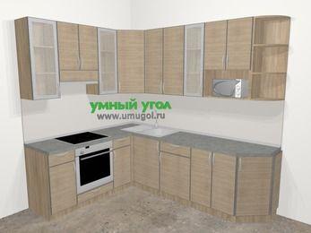 Кухни пластиковые угловые в стиле лофт 6,8 м², 190 на 250 см, Чибли бежевый, верхние модули 92 см, модуль под свч, встроенный духовой шкаф