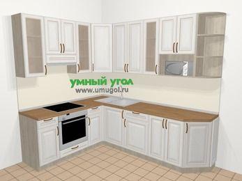 Угловая кухня МДФ патина в классическом стиле 6,8 м², 190 на 250 см, Лиственница белая, верхние модули 92 см, модуль под свч, встроенный духовой шкаф