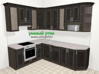 Угловая кухня МДФ патина в классическом стиле 6,8 м², 190 на 250 см, Венге, верхние модули 92 см, модуль под свч, встроенный духовой шкаф