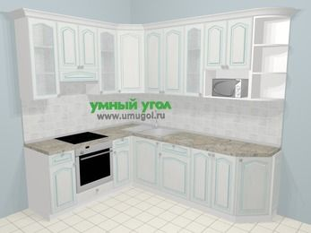 Угловая кухня МДФ патина в стиле прованс 6,8 м², 190 на 250 см, Лиственница белая, верхние модули 92 см, модуль под свч, встроенный духовой шкаф
