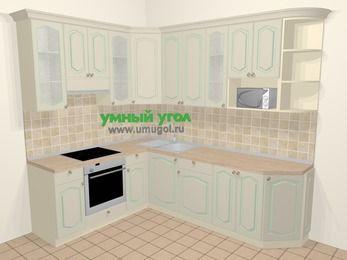 Угловая кухня МДФ патина в стиле прованс 6,8 м², 190 на 250 см, Керамик, верхние модули 92 см, модуль под свч, встроенный духовой шкаф
