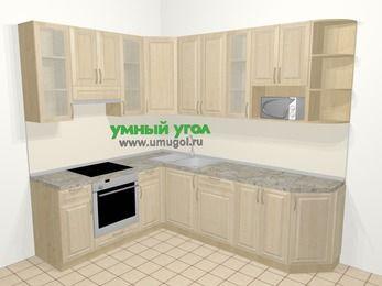 Угловая кухня из массива дерева в классическом стиле 6,8 м², 190 на 250 см, Светло-коричневые оттенки, верхние модули 92 см, модуль под свч, встроенный духовой шкаф