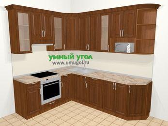 Угловая кухня из массива дерева в классическом стиле 6,8 м², 190 на 250 см, Темно-коричневые оттенки, верхние модули 92 см, модуль под свч, встроенный духовой шкаф