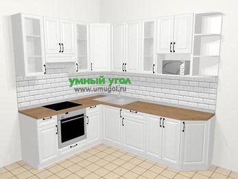 Угловая кухня из массива дерева в скандинавском стиле 6,8 м², 190 на 250 см, Белые оттенки, верхние модули 92 см, модуль под свч, встроенный духовой шкаф