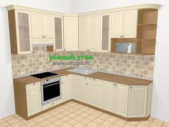 Угловая кухня из массива дерева в стиле кантри 6,8 м², 190 на 250 см, Бежевые оттенки, верхние модули 92 см, модуль под свч, встроенный духовой шкаф