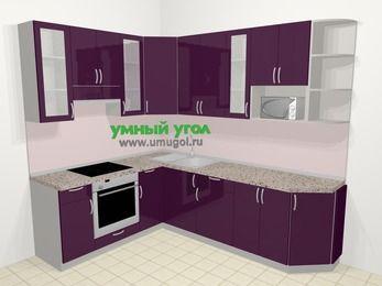 Угловая кухня МДФ глянец в современном стиле 6,8 м², 190 на 250 см, Баклажан, верхние модули 92 см, модуль под свч, встроенный духовой шкаф