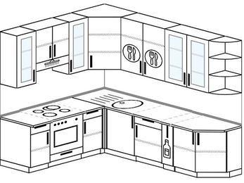 Угловая кухня 6,8 м² (1,9✕2,5 м), верхние модули 92 см, встроенный духовой шкаф
