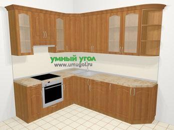 Угловая кухня МДФ матовый в классическом стиле 6,8 м², 190 на 250 см, Вишня, верхние модули 92 см, встроенный духовой шкаф