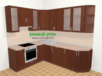 Угловая кухня МДФ матовый в классическом стиле 6,8 м², 190 на 250 см, Вишня темная, верхние модули 92 см, встроенный духовой шкаф