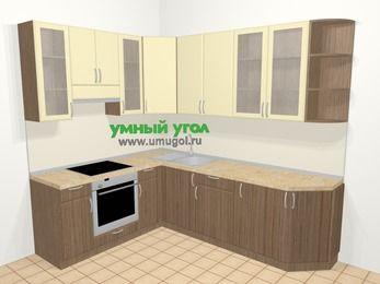 Угловая кухня МДФ матовый в современном стиле 6,8 м², 190 на 250 см, Ваниль / Лиственница бронзовая, верхние модули 92 см, встроенный духовой шкаф