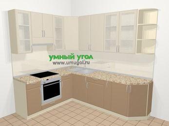 Угловая кухня МДФ матовый в современном стиле 6,8 м², 190 на 250 см, Керамик / Кофе, верхние модули 92 см, встроенный духовой шкаф