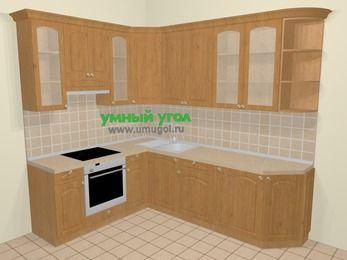 Угловая кухня МДФ матовый в стиле кантри 6,8 м², 190 на 250 см, Ольха, верхние модули 92 см, встроенный духовой шкаф