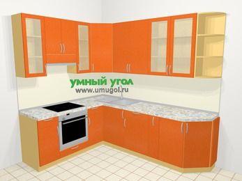 Угловая кухня МДФ металлик в современном стиле 6,8 м², 190 на 250 см, Оранжевый металлик, верхние модули 92 см, встроенный духовой шкаф