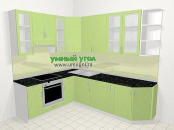 Угловая кухня МДФ металлик в современном стиле 6,8 м², 190 на 250 см, Салатовый металлик, верхние модули 92 см, встроенный духовой шкаф