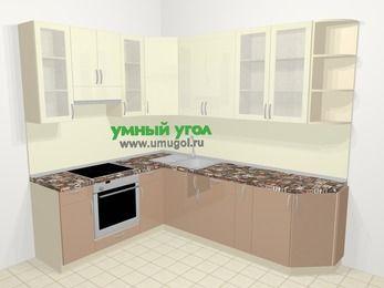 Угловая кухня МДФ глянец в современном стиле 6,8 м², 190 на 250 см, Жасмин / Капучино, верхние модули 92 см, встроенный духовой шкаф