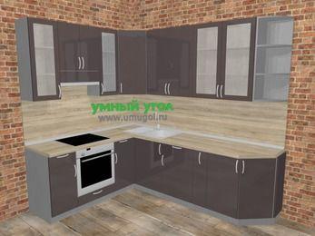 Угловая кухня МДФ глянец в стиле лофт 6,8 м², 190 на 250 см, Шоколад, верхние модули 92 см, встроенный духовой шкаф
