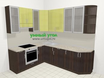 Кухни пластиковые угловые в современном стиле 6,8 м², 190 на 250 см, Желтый Галлион глянец / Дерево Мокка, верхние модули 92 см, встроенный духовой шкаф