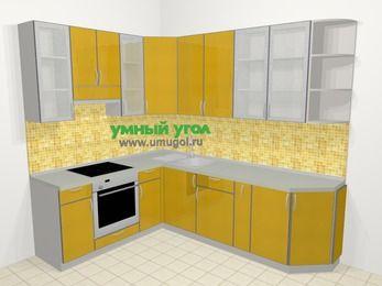 Кухни пластиковые угловые в современном стиле 6,8 м², 190 на 250 см, Желтый глянец, верхние модули 92 см, встроенный духовой шкаф