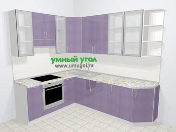 Кухни пластиковые угловые в современном стиле 6,8 м², 190 на 250 см, Сиреневый глянец, верхние модули 92 см, встроенный духовой шкаф